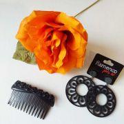 KIT 21 preto laranja flor brinco peinecillo flamenco