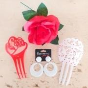 KIT flamenco 4 peças vermelho e branco