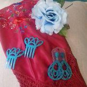 KIT VERANO FLAMENCO 03 - Mantoncillo, brincos, peineta e flor