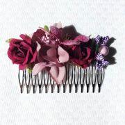 PEINECILLO flamenco metal com flores bordô 8x5cm