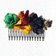 PEINECILLO flamenco metal com flores verde preto amarelo 8x5cm