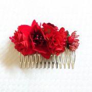 PEINECILLO flamenco metal com flores vermelhos 8x5cm