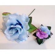 KIT Pente flamenco pequeno com flores lilás azul + flor azul claro