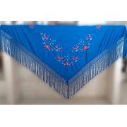 XALE ESPANHOL bordado 160x75 azul royal bordado flamenco cigano
