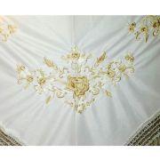 XALE ESPANHOL bordado 160x75 marfim com oro viejo flamenco dança cigana