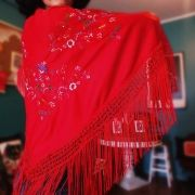 XALE ESPANHOL bordado 160x75 vermelho bordado flamenco cigano