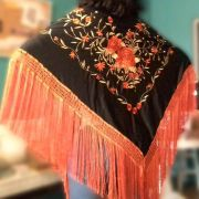 XALE ESPANHOL grande bordado 190x90cm flamenco preto laranja dourado