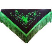 XALE ESPANHOL grande bordado 190x90cm flamenco preto verde