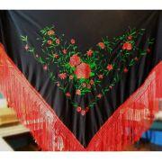 XALE ESPANHOL grande bordado 190x90cm flamenco preto verde vermelho