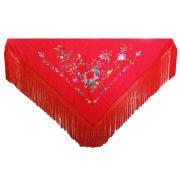 XALE ESPANHOL grande bordado 190x90cm flamenco vermelho colorido