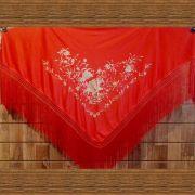 XALE ESPANHOL grande bordado 190x90cm flamenco vermelho dourado