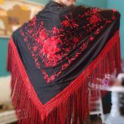 XALE ESPANHOL grande bordado flamenco preto vermelho 190x90cm
