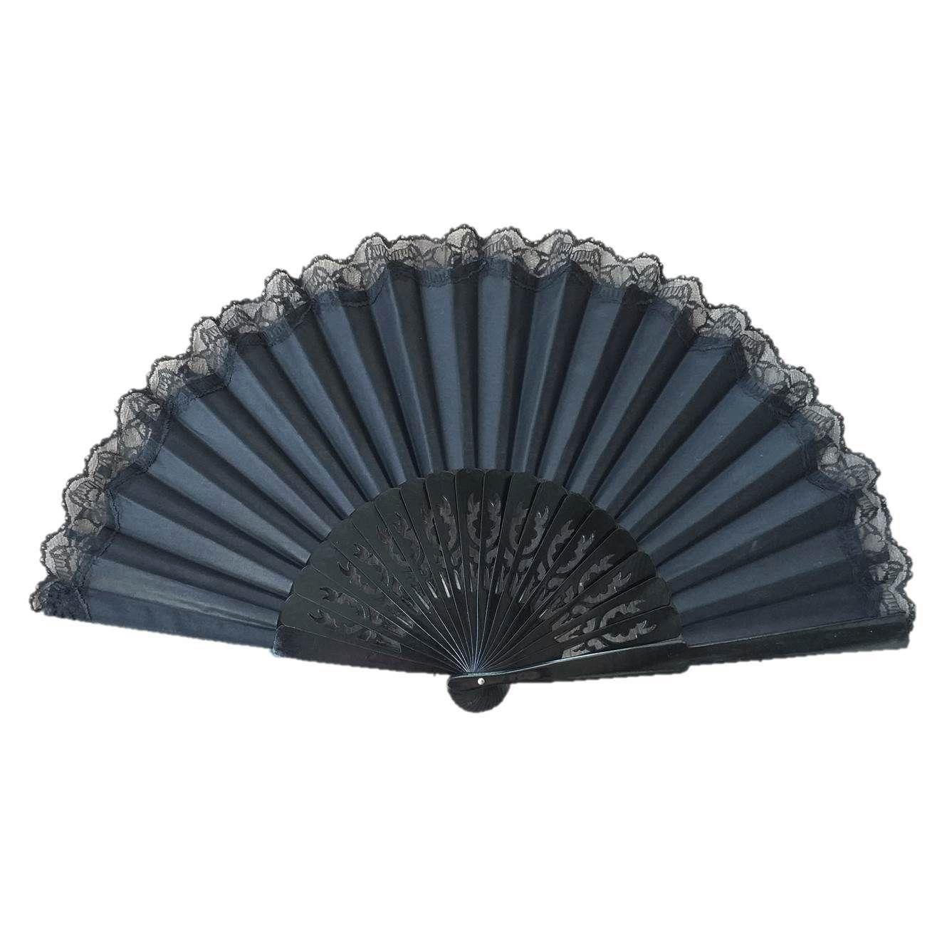 ABANICO PERICÓN 32cm leque flamenco grande preto com renda