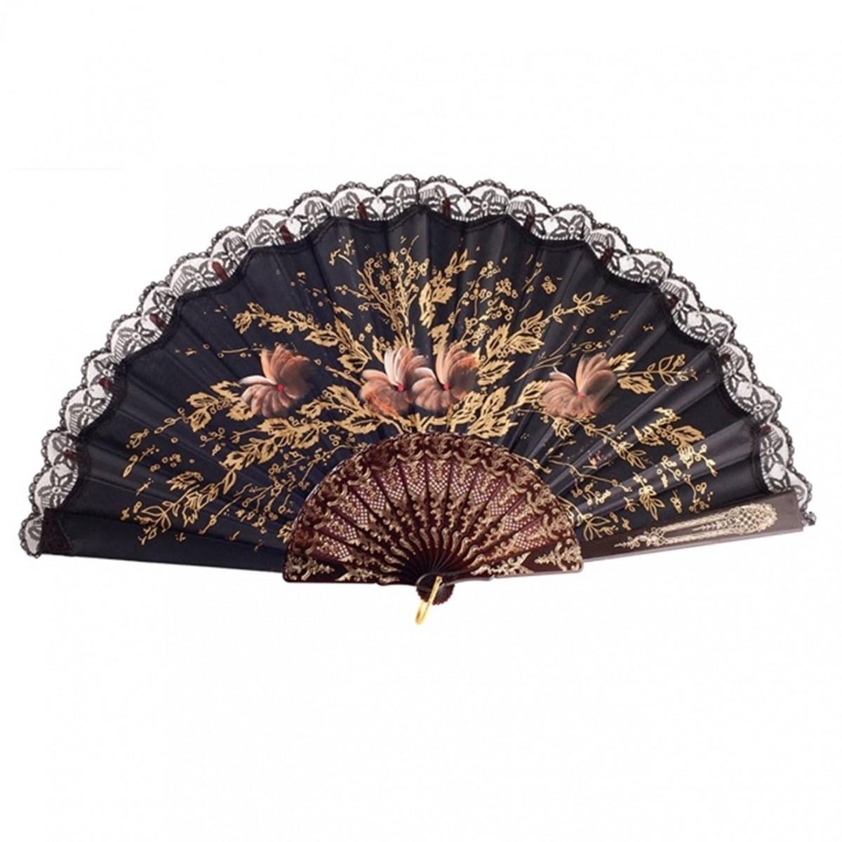 ABANICO SEMI PERICÓN 27cm leque flamenco grande floral preto