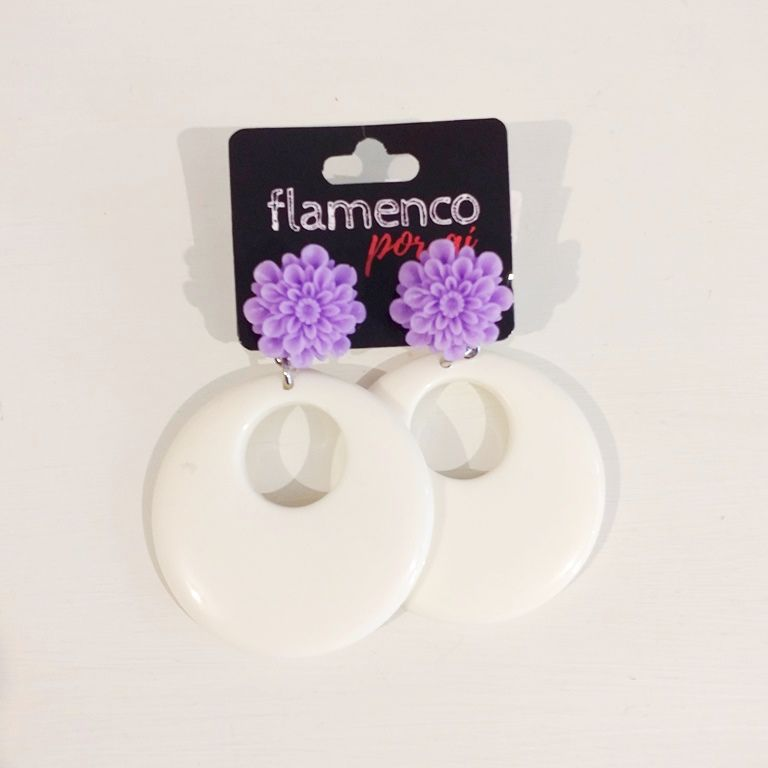 BRINCO flamenco acrílico argola flor 4,5cm
