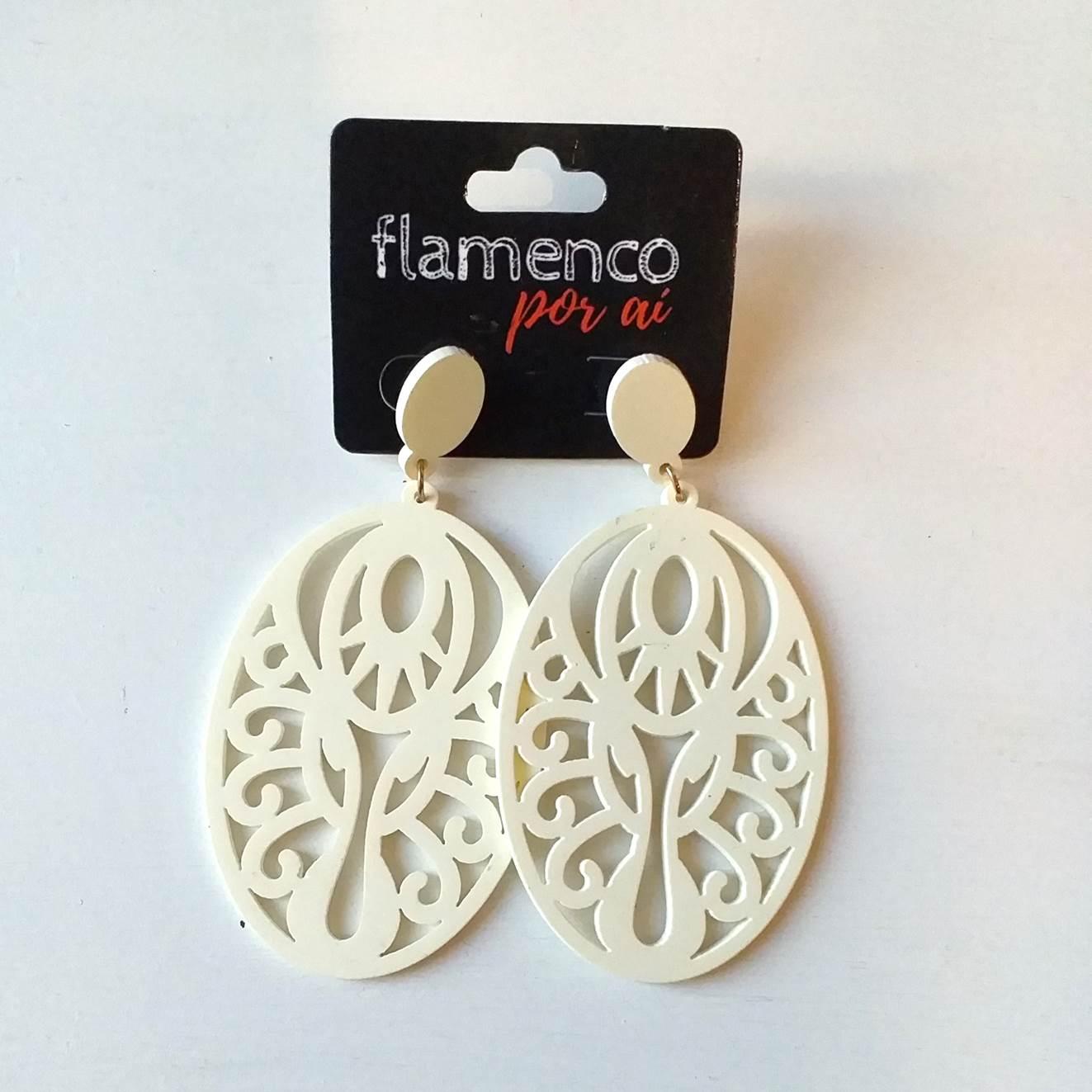 BRINCO flamenco acrílico creme oval 4,5 x 8,5cm