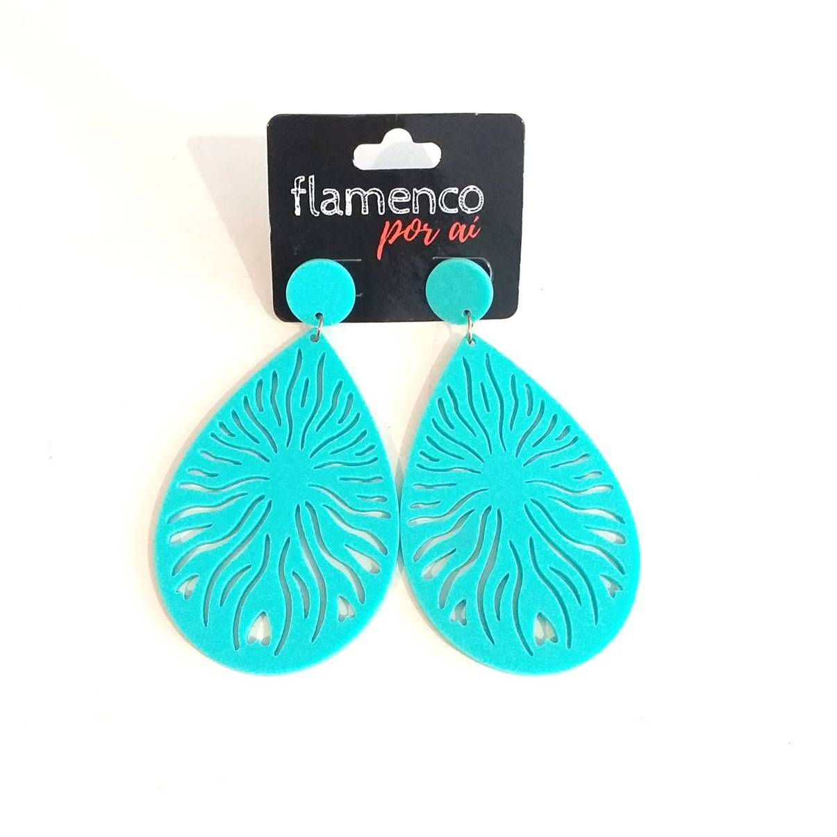BRINCO flamenco acrílico leve gota vazada 4,5x8cm
