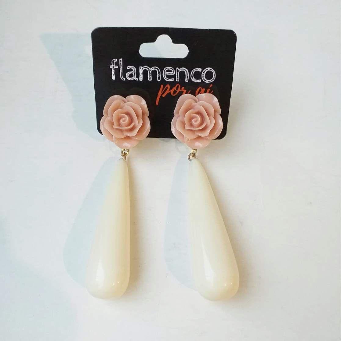 BRINCO flamenco gota alongada rosa várias cores 7,5cm