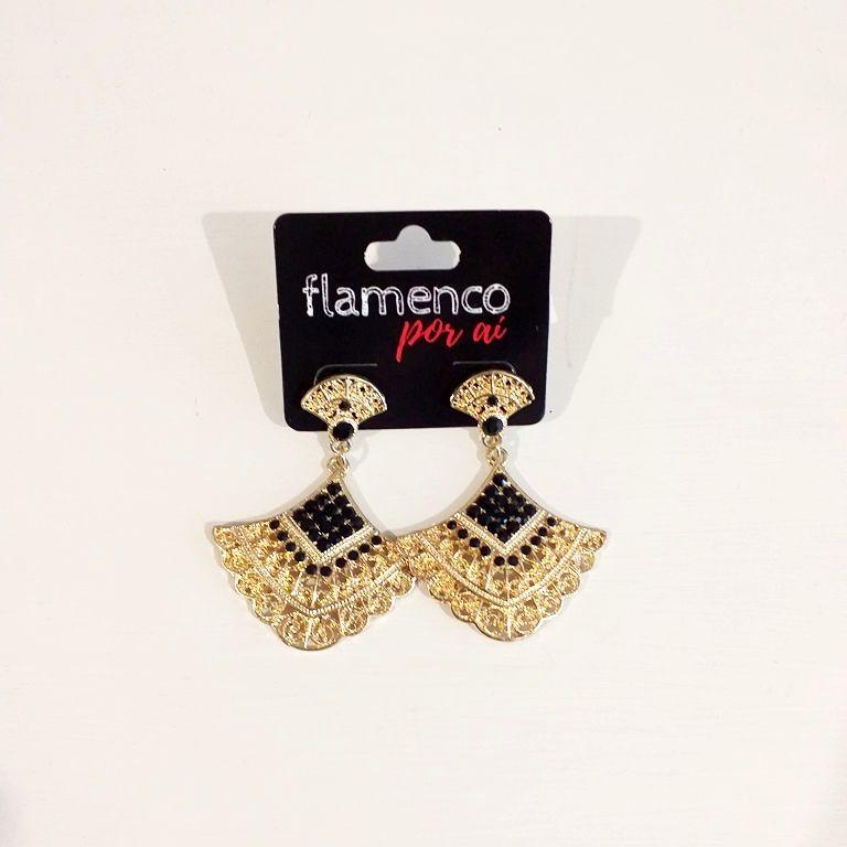 BRINCO FLAMENCO vintage leque dourado