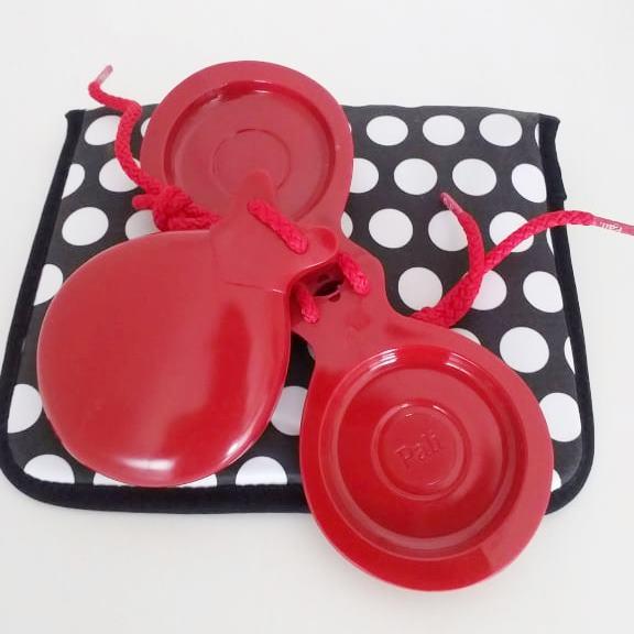 CASTANHOLA ESPANHOLA caixa dupla fibra vermelha flamenco Pali cordão vermelho