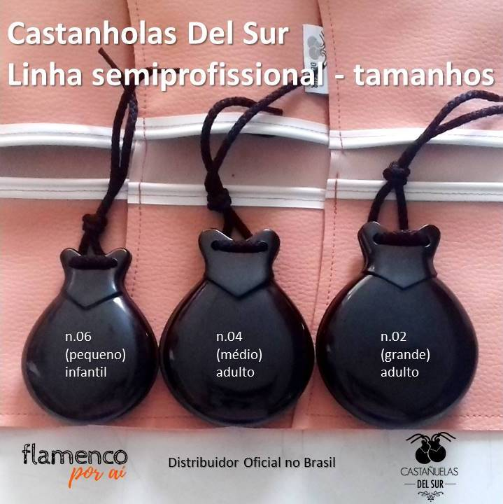 CASTANHOLA SEMIPROFISSIONAL fibra preta caixa dupla concierto Del Sur flamenco n.02 grande