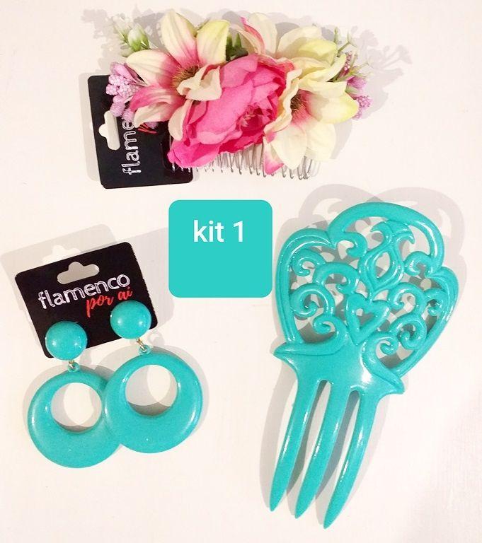 KIT 01 verde água e rosa peineta flor brinco flamenco