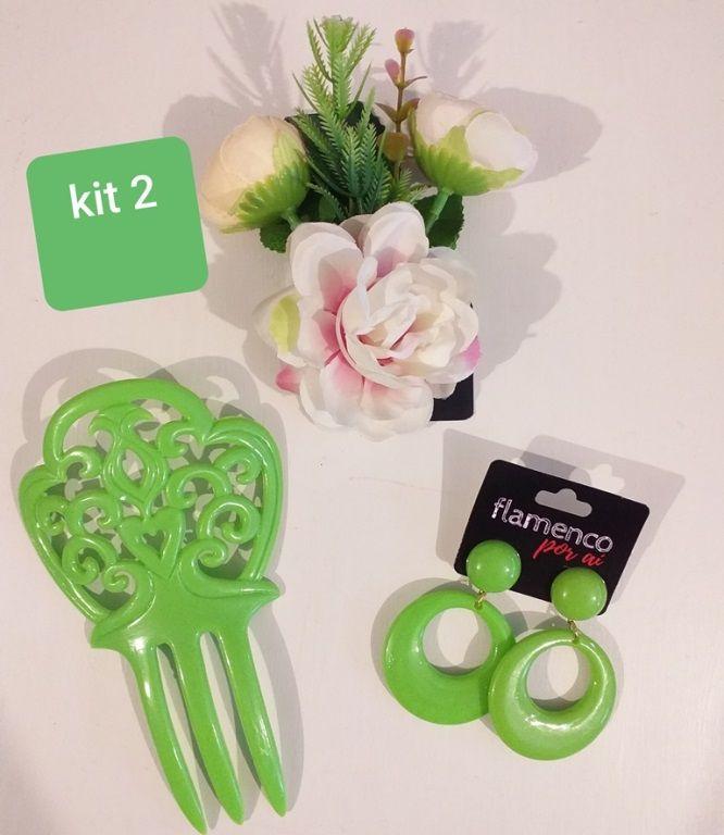 KIT 02 Verde pistache flamenco brinco peineta