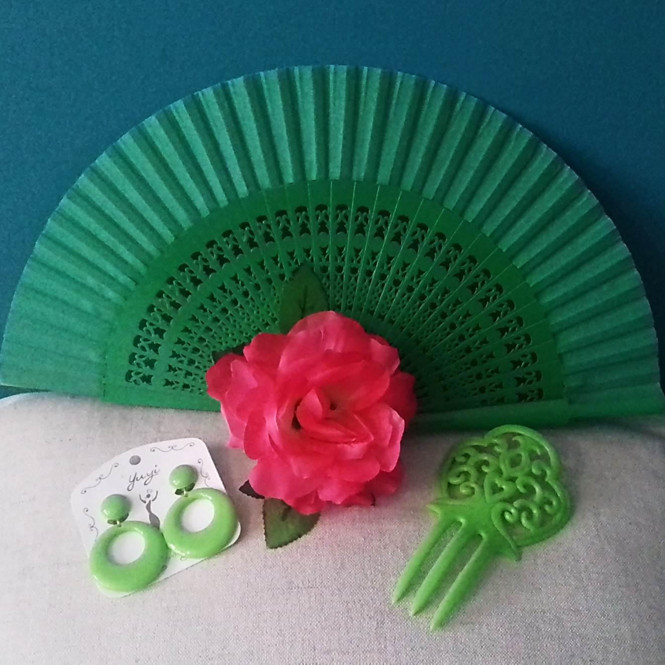 KIT VERANO FLAMENCO 06 - leque, brincos, flor e peineta