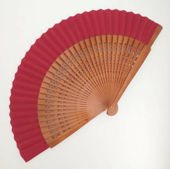 LEQUE espanhol 23cm flamenco nogal e vermelho