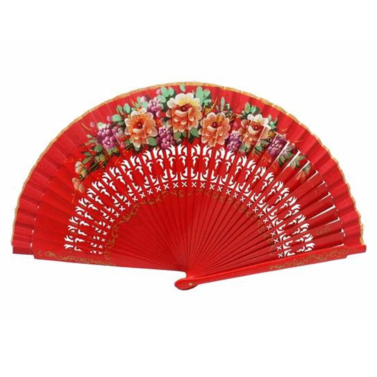ABANICO MÉDIO 23cm - leque desenho vazado floral vermelho dança flamenca e cigana