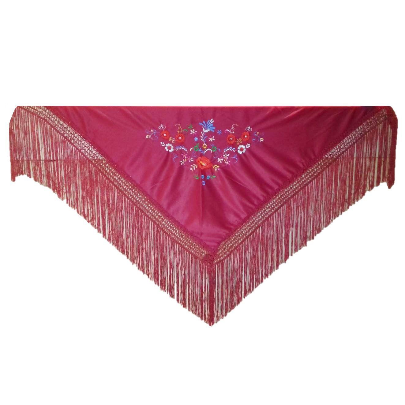 MANTONCILLO xale triangular bordado flamenco dança cigana bordô
