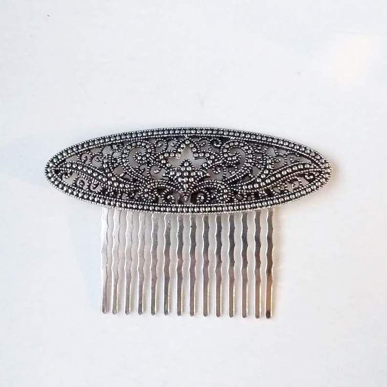 PEINECILLO metal flamenco vintage strass prateado elipse  7,5cmx5cm