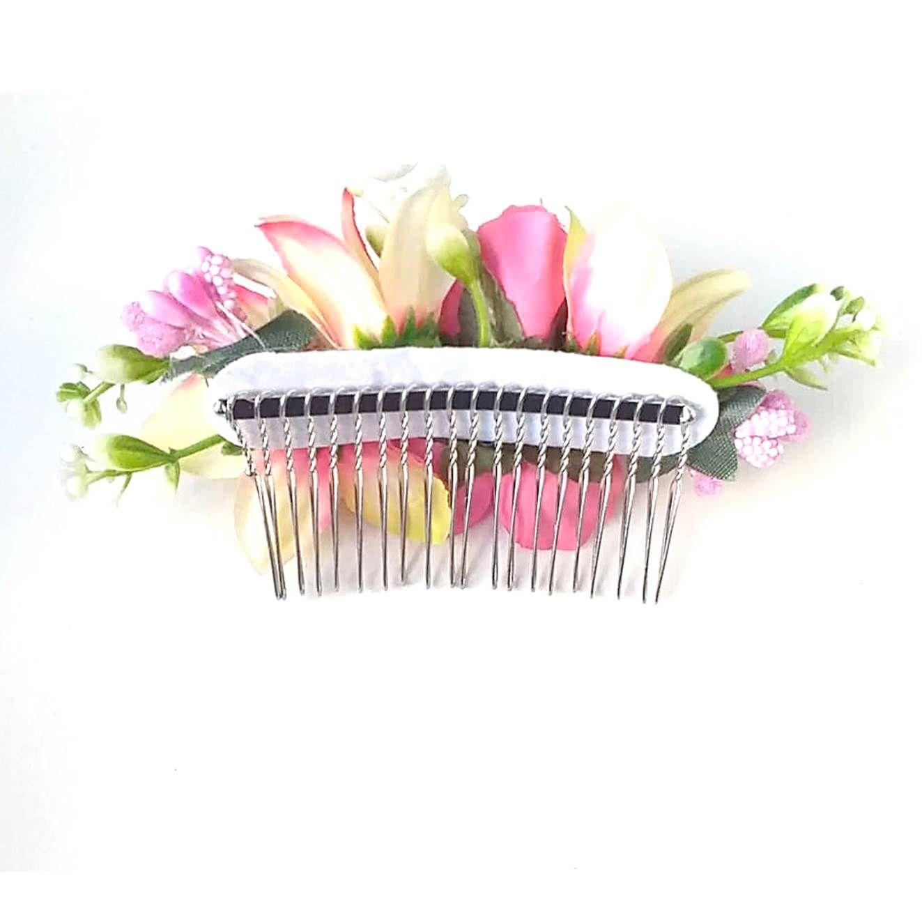 PEINECILLO metal flamenco com flores rosadas