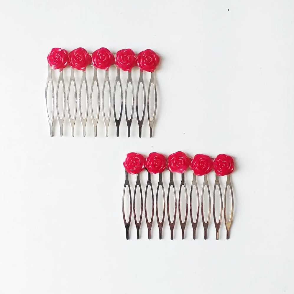 PEINECILLO (par) metal flamenco flores resina 5,5x5cm