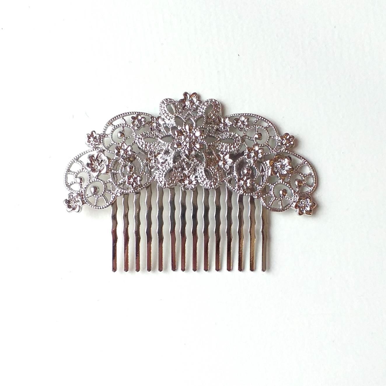 PEINECILLO metal flamenco vintage prateado  7,5cmx5,5cm arco