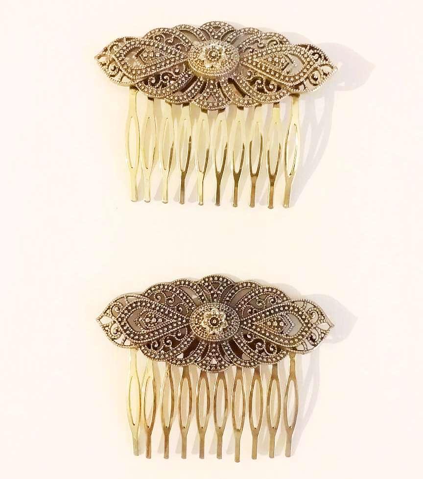 PEINECILLO metal (par) flamenco peineta dourada vintage 7,5x6,5cm