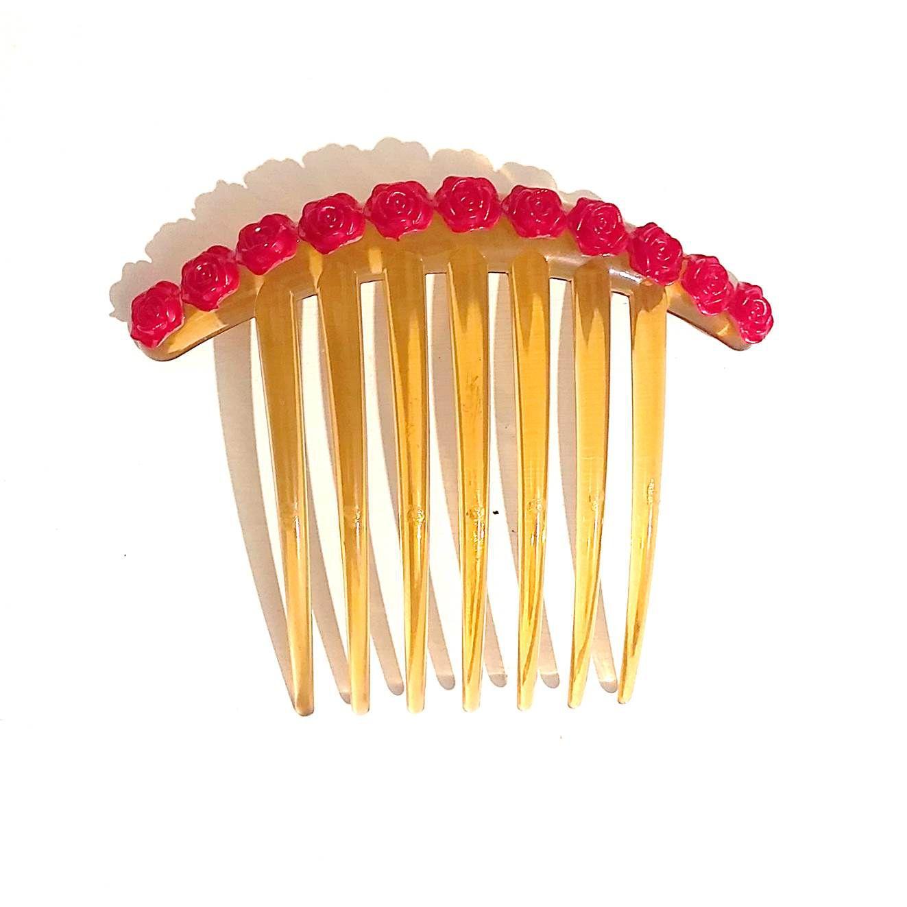 PEINECILLO plástico ocre rosinhas vermelhas flamenco dança cigana