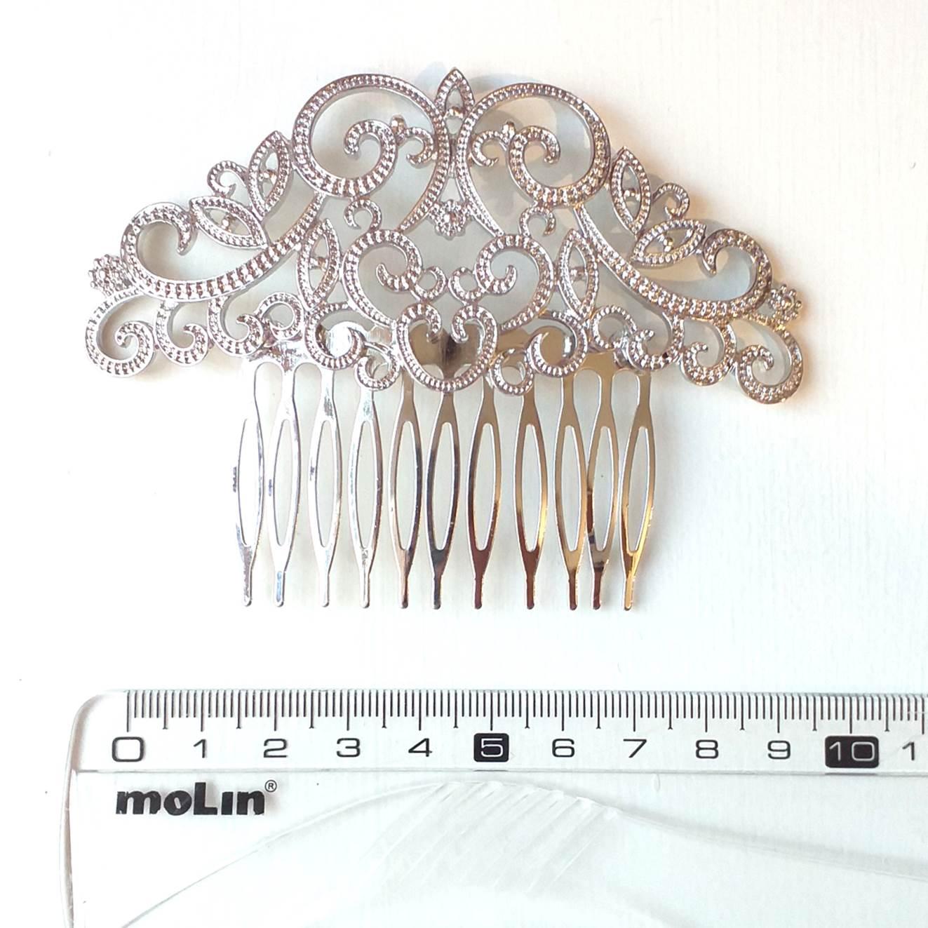 PEINECILLO metal flamenco prateado arabesco 11cm