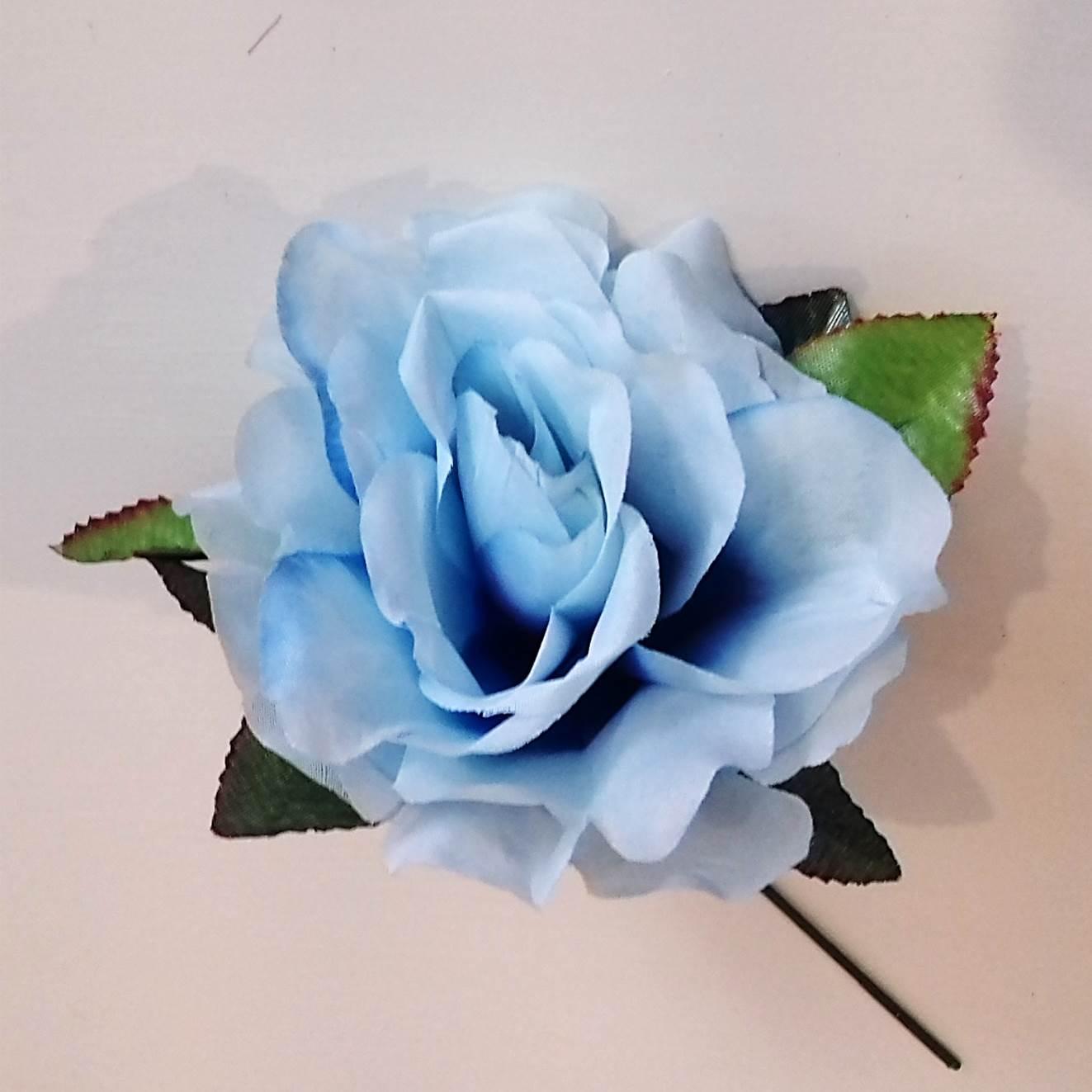 PENTE flamenco pequeno com flores lilás azul + flor azul claro