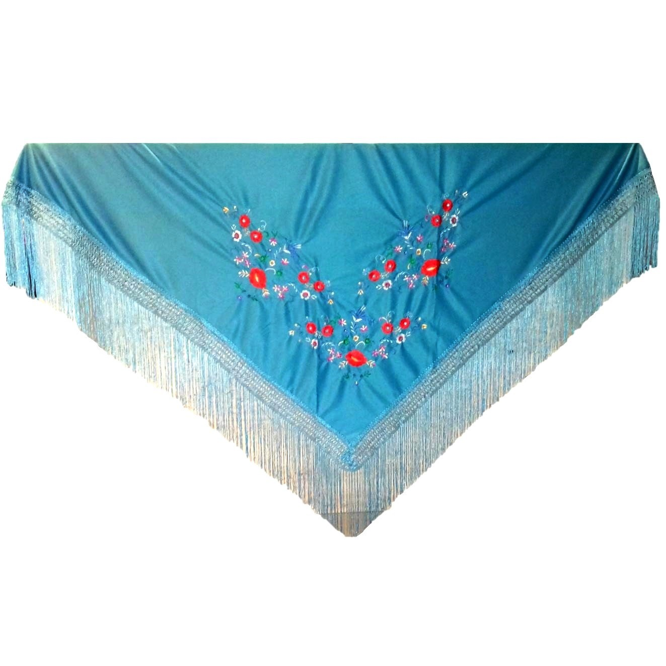XALE ESPANHOL bordado 160x75 azul flamenco cigano