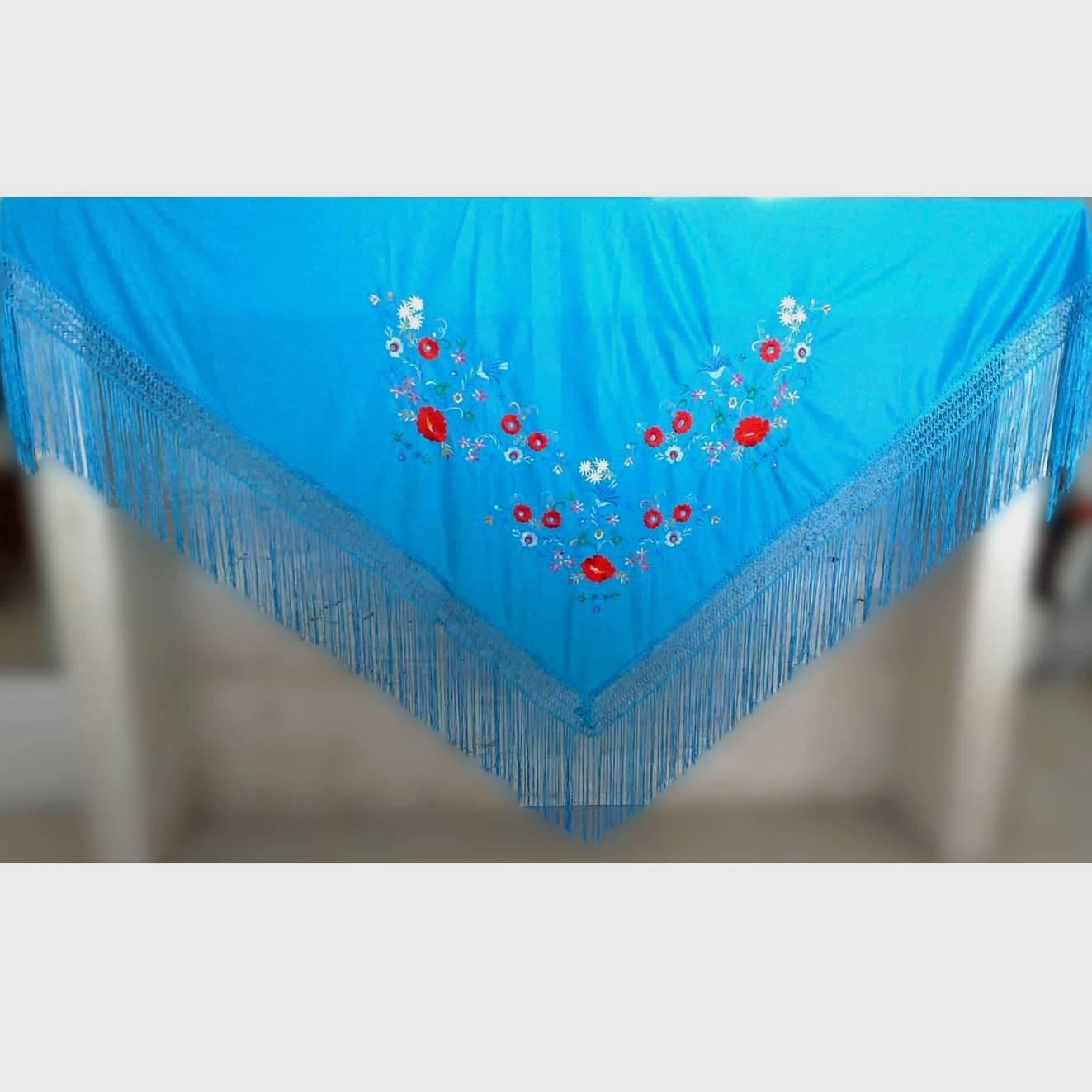 XALE ESPANHOL bordado 160x75 azulturquesa flores coloridas flamenco cigano