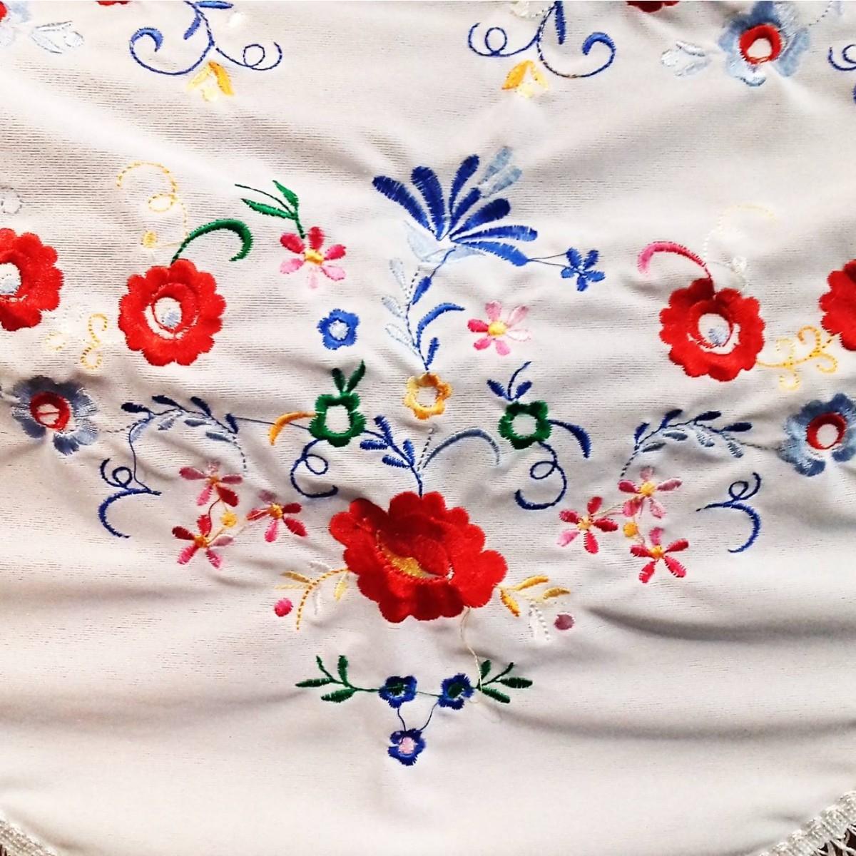 XALE ESPANHOL bordado 160x75 branco flores coloridas flamenco cigano