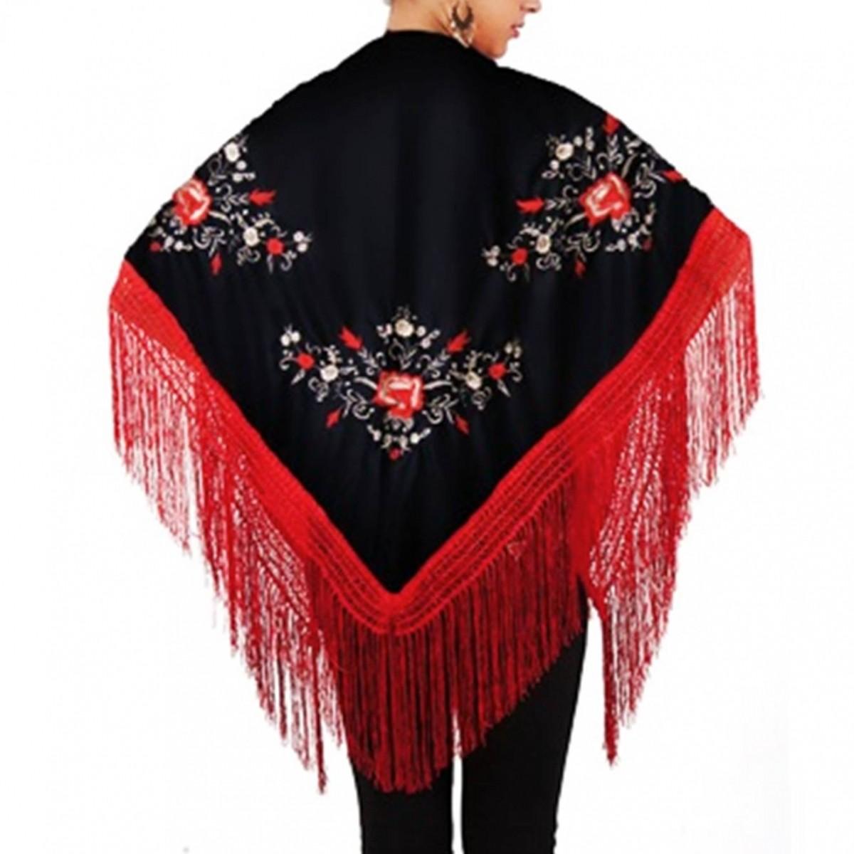 XALE ESPANHOL bordado 160x75 preto franjas vermelhas flamenco cigano