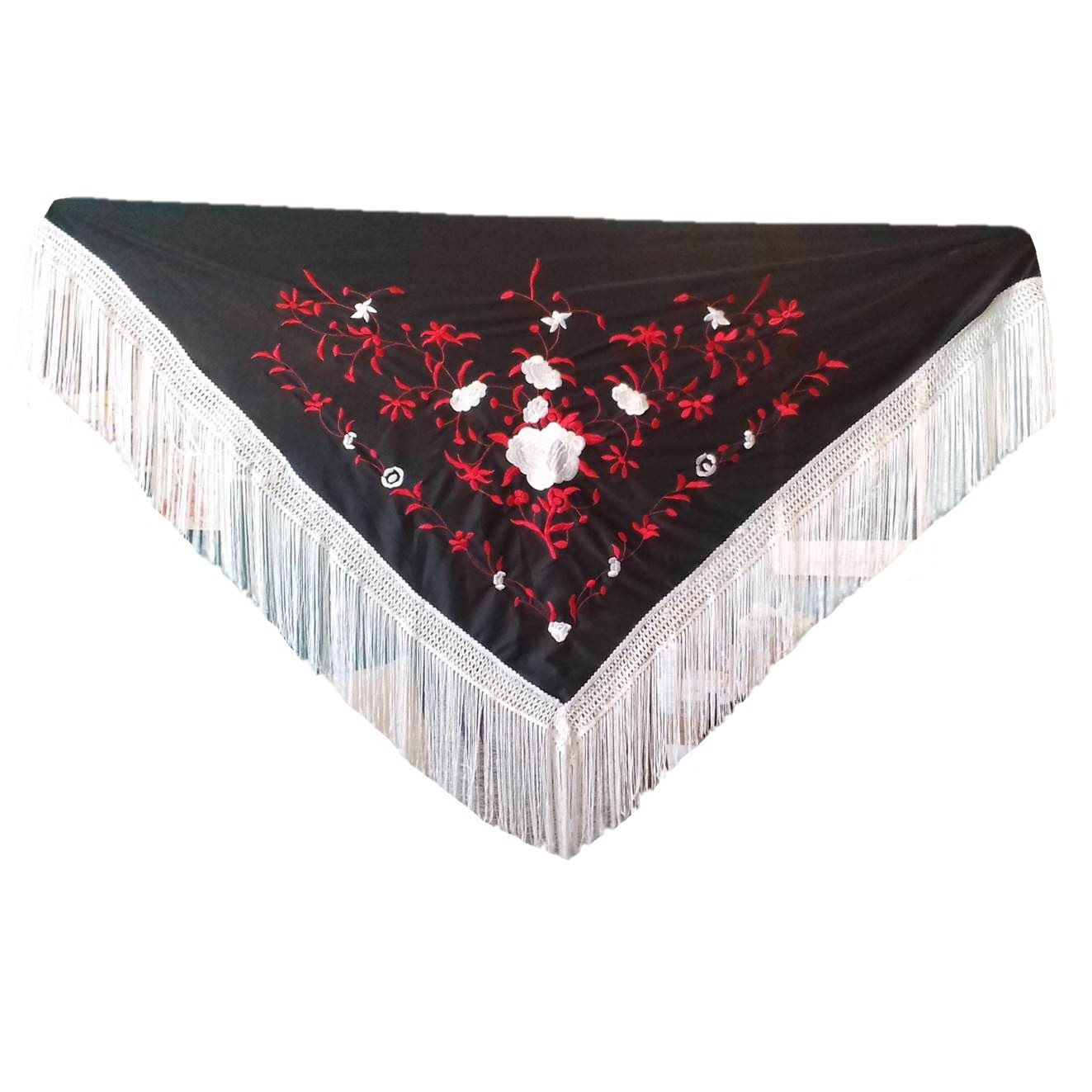 XALE ESPANHOL bordado 160x75 preto branco vermelho flamenco