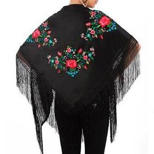 XALE ESPANHOL bordado 160x75 preto colorido flamenco cigano