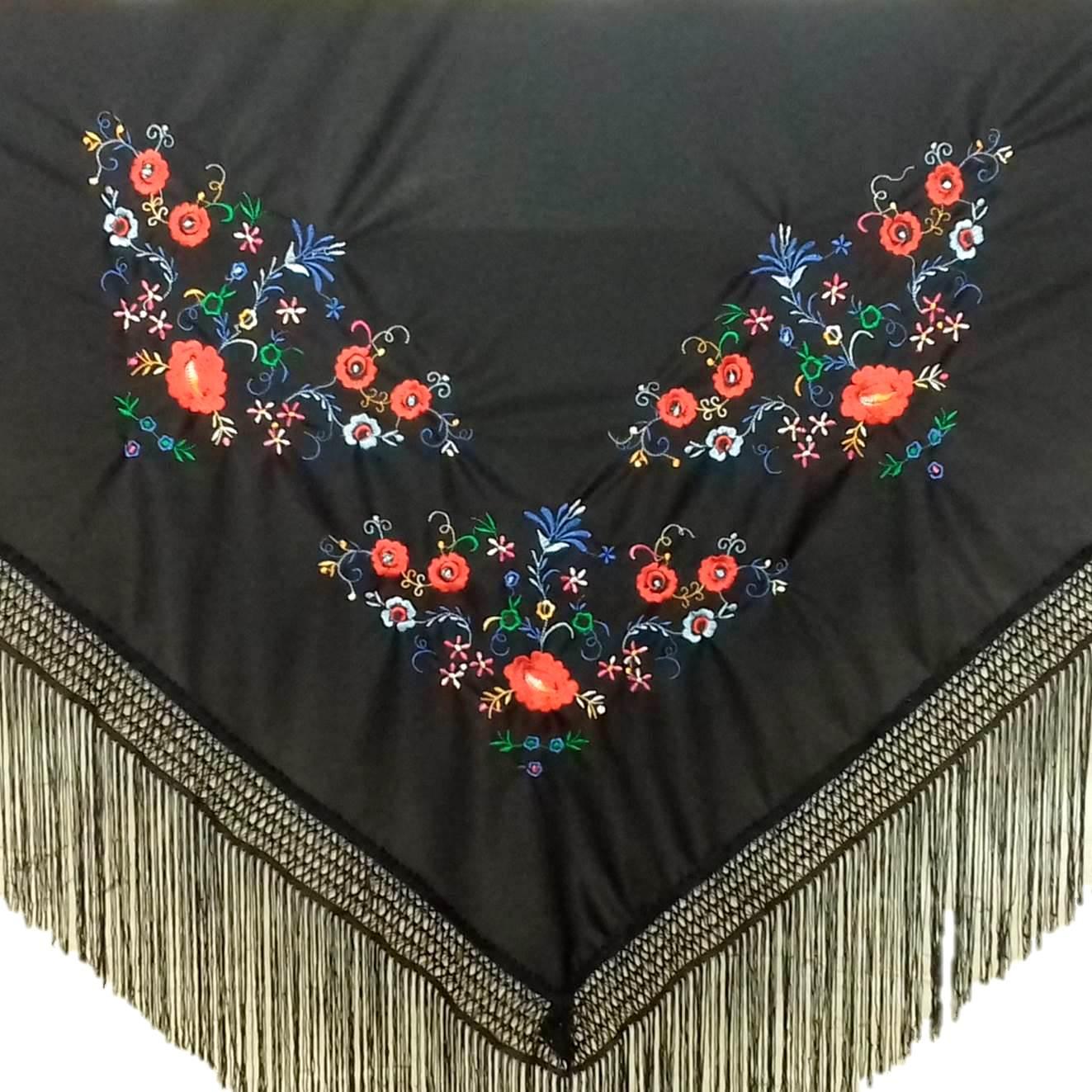 XALE ESPANHOL bordado 160x75 preto flamenco cigano