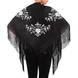 XALE ESPANHOL bordado 160x75 preto flores brancas flamenco cigano