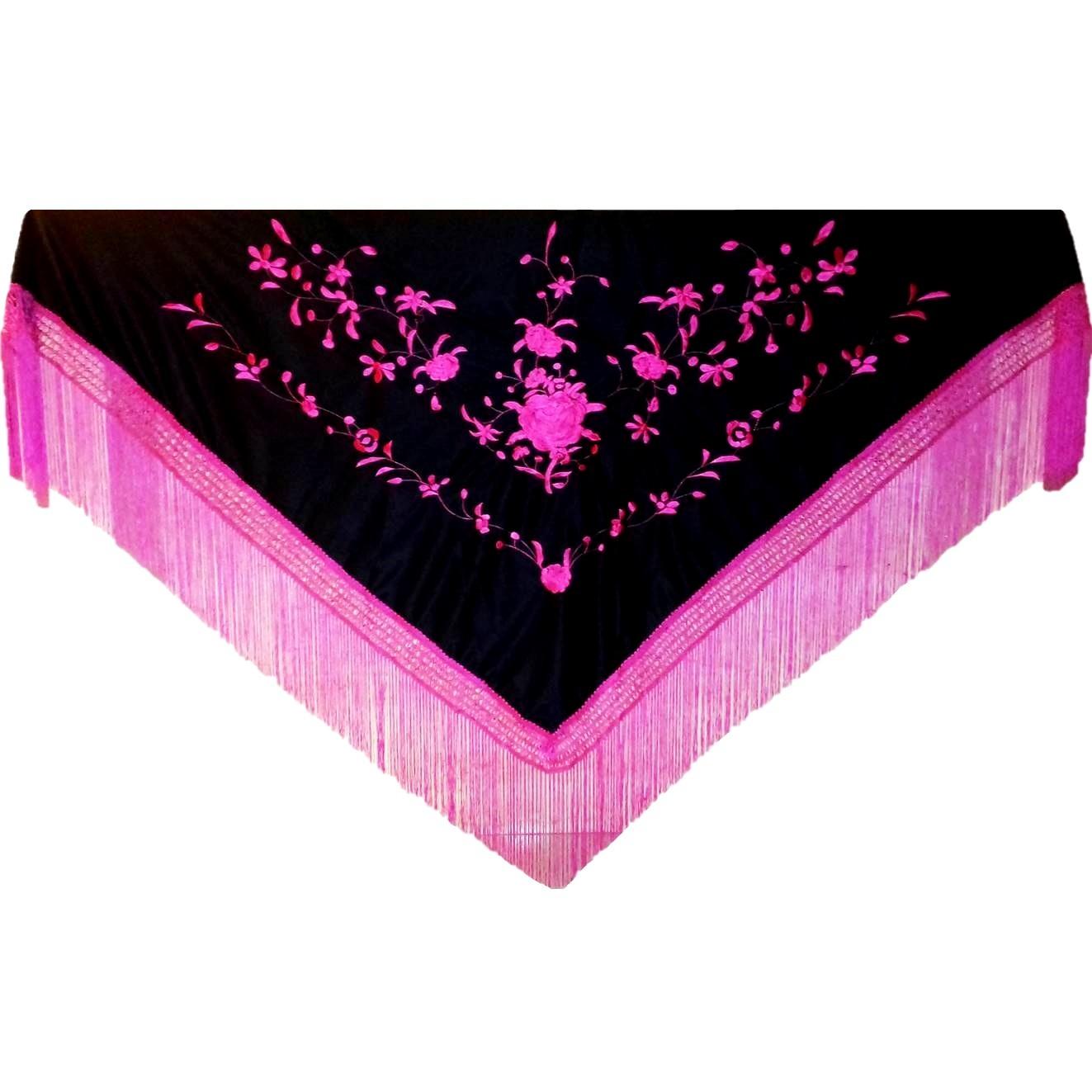 XALE ESPANHOL bordado 170x75 preto pink flamenco cigano