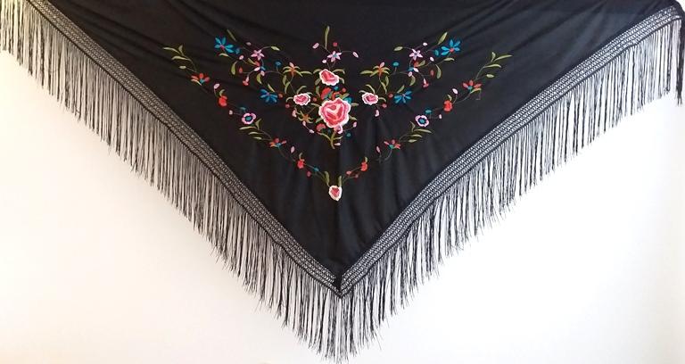 XALE ESPANHOL bordado 170x80 preto colorido flor mantón flamenco cigano