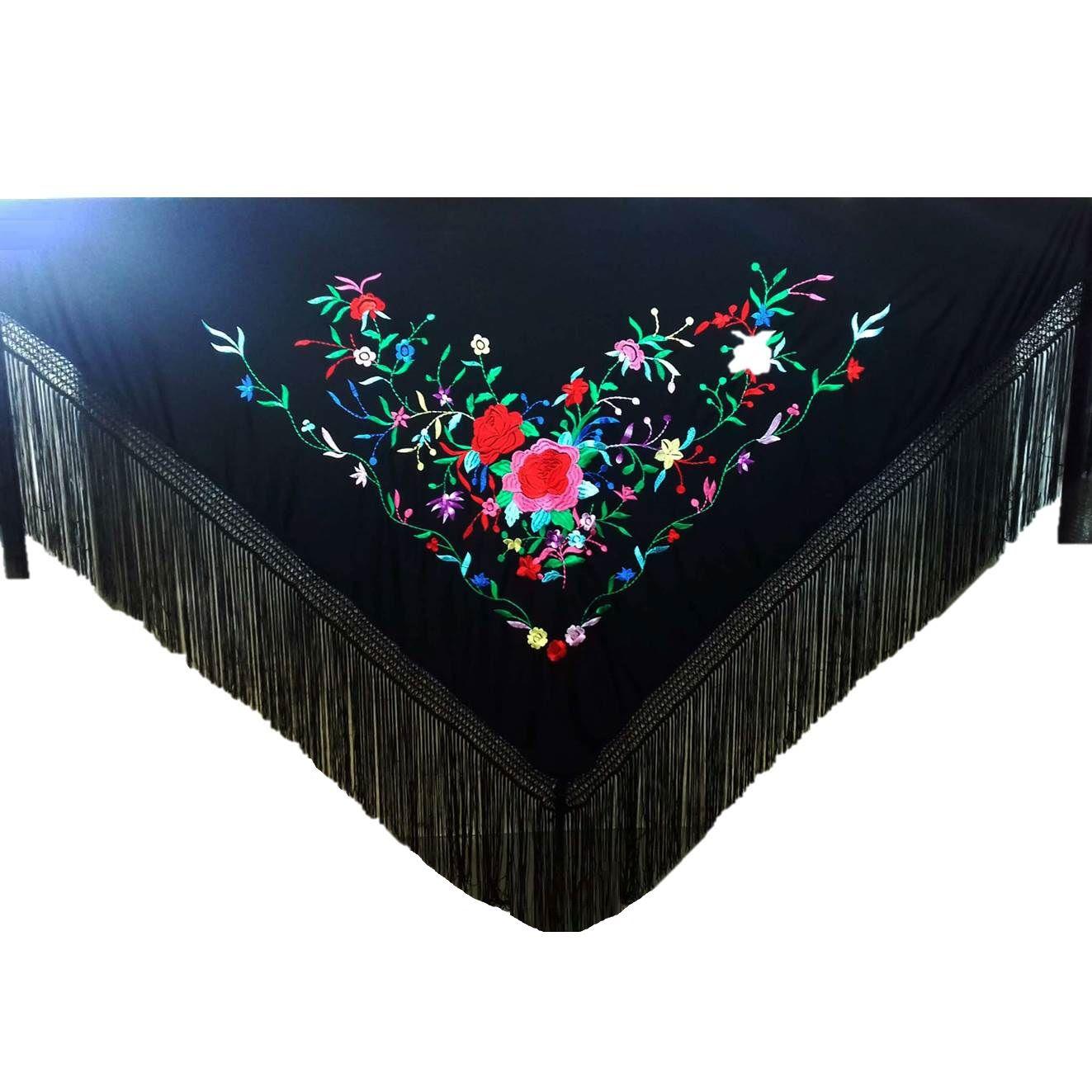 XALE ESPANHOL grande bordado 190x90cm flamenco preto colorido